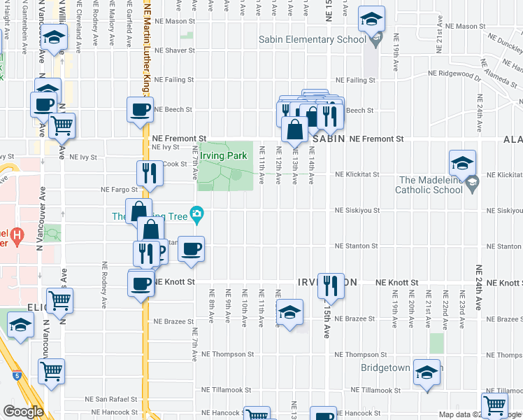 map of restaurants, bars, coffee shops, grocery stores, and more near NE Siskiyou St & NE 11th Ave in Portland