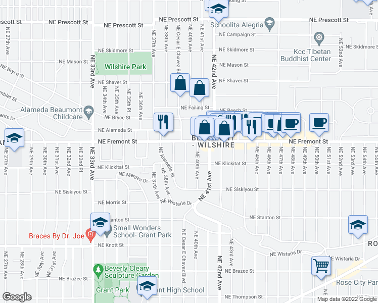 map of restaurants, bars, coffee shops, grocery stores, and more near 3406 NE Cesar E Chavez Blvd in Portland