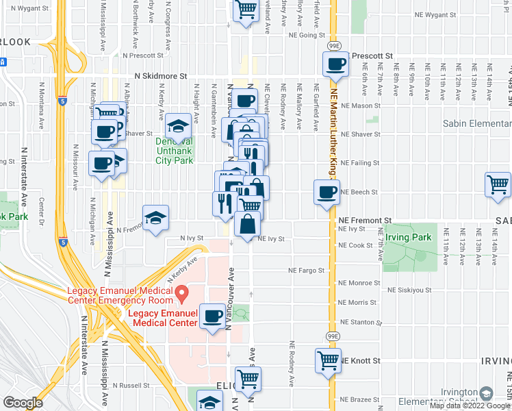 map of restaurants, bars, coffee shops, grocery stores, and more near 3600 North Williams Avenue in Portland