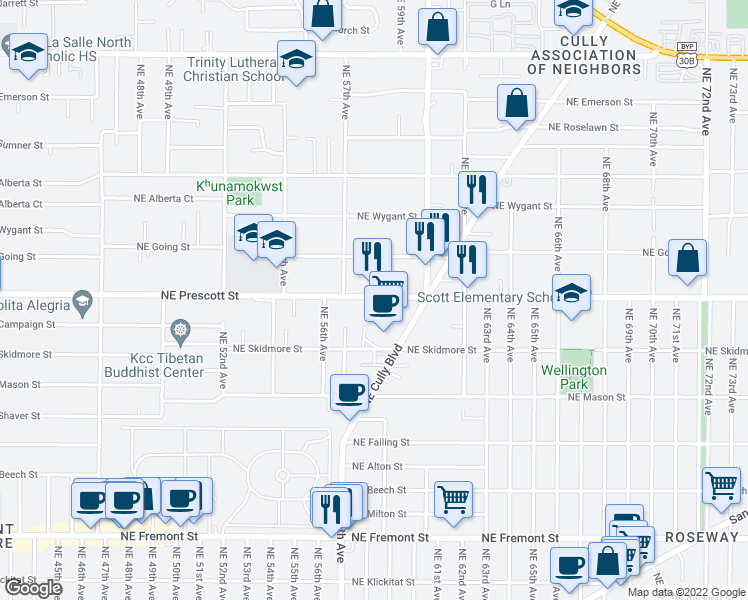 map of restaurants, bars, coffee shops, grocery stores, and more near 5802 Northeast Prescott Street in Portland