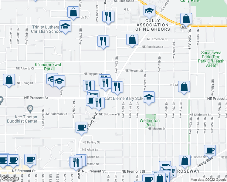 map of restaurants, bars, coffee shops, grocery stores, and more near 4562 Northeast Cully Boulevard in Portland
