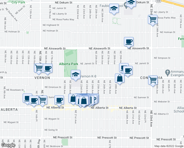 map of restaurants, bars, coffee shops, grocery stores, and more near 5516 Northeast 24th Avenue in Portland