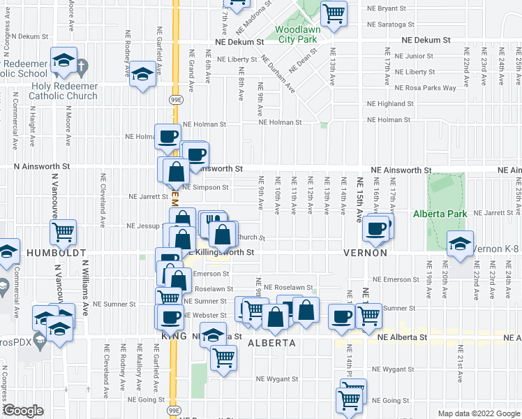 map of restaurants, bars, coffee shops, grocery stores, and more near NE Jarrett St & NE 9th Ave in Portland