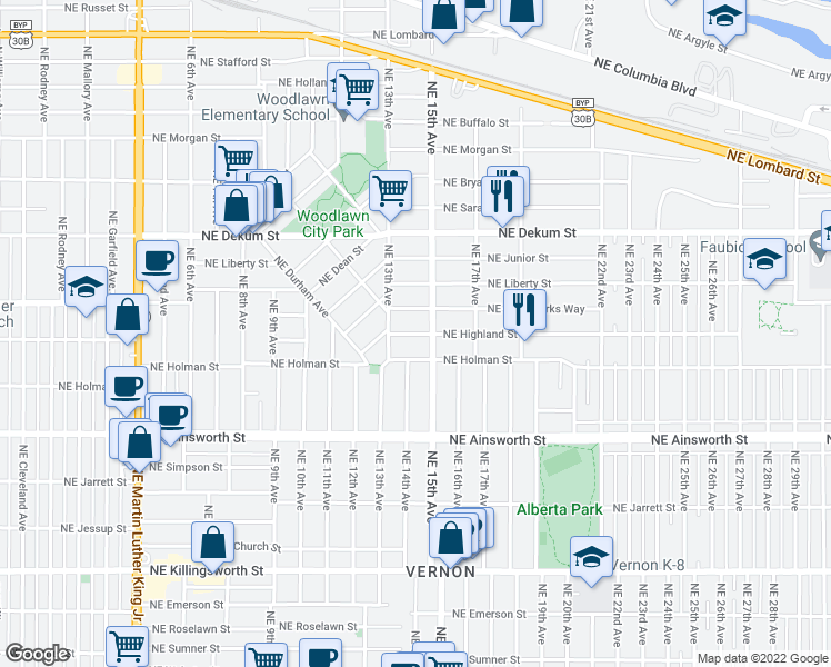map of restaurants, bars, coffee shops, grocery stores, and more near 1411 NE Highland St in Portland