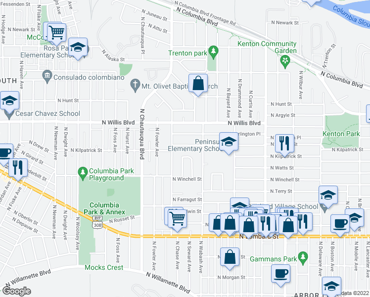map of restaurants, bars, coffee shops, grocery stores, and more near 3636 North Halleck Street in Portland