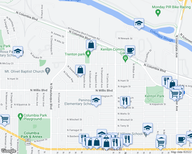 map of restaurants, bars, coffee shops, grocery stores, and more near North Hunt Street & North Bayard Avenue in Portland