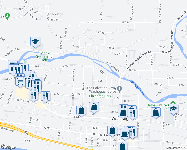 map of restaurants, bars, coffee shops, grocery stores, and more near 1020 12th Street in Washougal