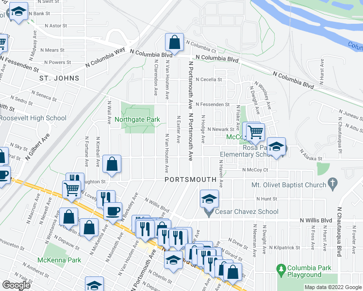 map of restaurants, bars, coffee shops, grocery stores, and more near 9042 N Exeter Ave in Portland