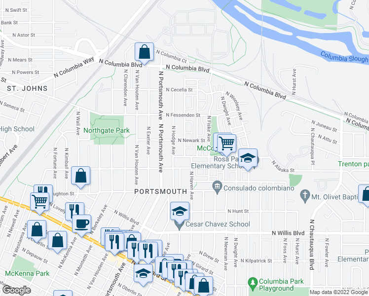 map of restaurants, bars, coffee shops, grocery stores, and more near 9137 North Adriatic Avenue in Portland