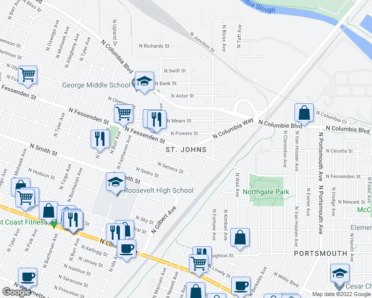 map of restaurants, bars, coffee shops, grocery stores, and more near N Fessenden St & N Columbia Way in Portland
