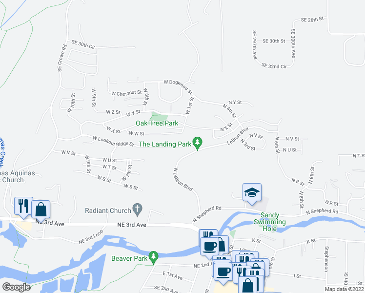 map of restaurants, bars, coffee shops, grocery stores, and more near 147 W Lookout Ridge Dr in Washougal