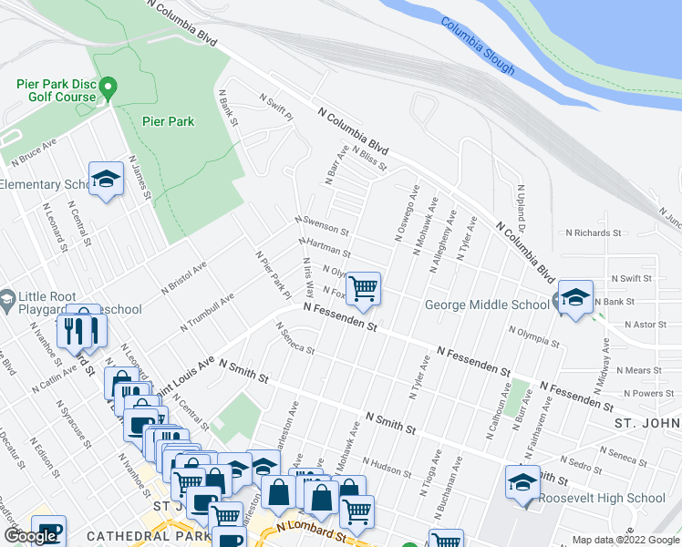 map of restaurants, bars, coffee shops, grocery stores, and more near N Charleston Ave & N Olympia St in Portland