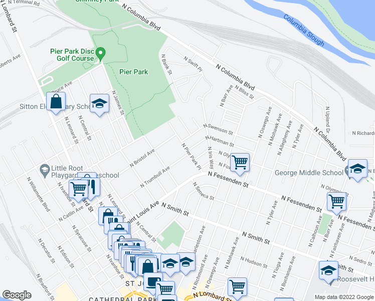 map of restaurants, bars, coffee shops, grocery stores, and more near N Pier Park Pl & N Hartman St in Portland
