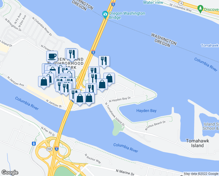 map of restaurants, bars, coffee shops, grocery stores, and more near North Jantzen Beach Avenue in Portland