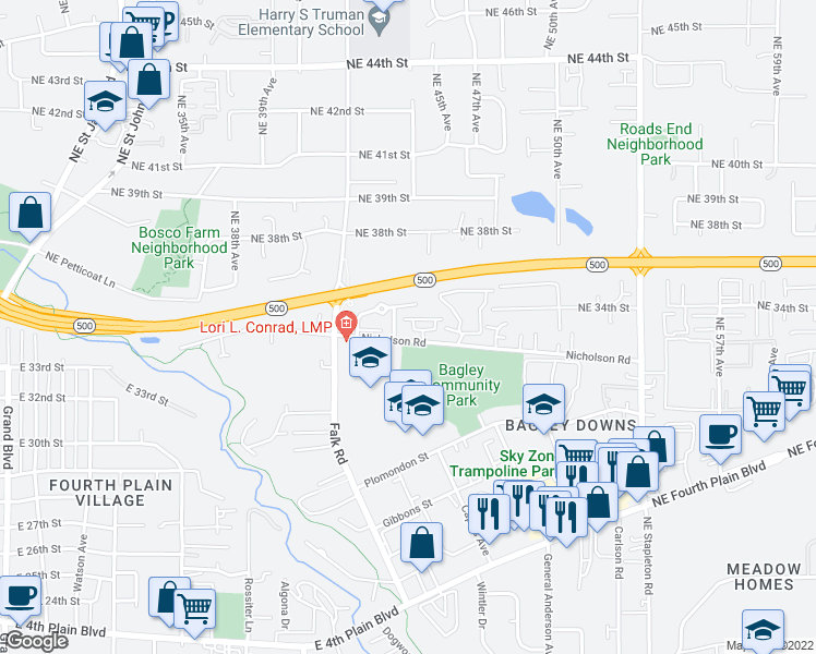 map of restaurants, bars, coffee shops, grocery stores, and more near 4486 Northeast Nicholson Loop in Vancouver