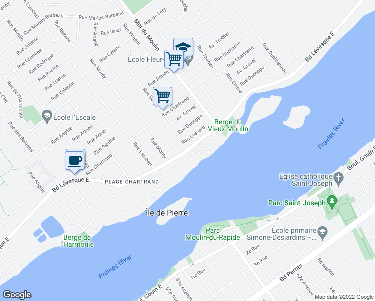 map of restaurants, bars, coffee shops, grocery stores, and more near 8404 Boulevard Lévesque Est in Laval