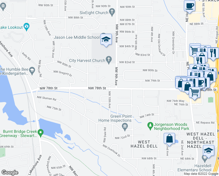 map of restaurants, bars, coffee shops, grocery stores, and more near NW 78th St in Vancouver