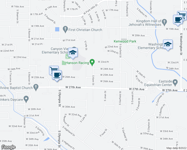map of restaurants, bars, coffee shops, grocery stores, and more near 1801 West 25th Avenue in Kennewick