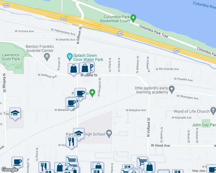 map of restaurants, bars, coffee shops, grocery stores, and more near 1100 N Buchanan St in Kennewick