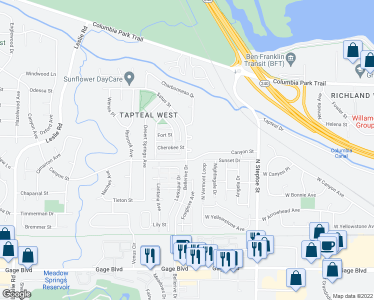 map of restaurants, bars, coffee shops, grocery stores, and more near 557 Satus Street in Richland