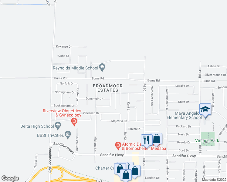 map of restaurants, bars, coffee shops, grocery stores, and more near 6213 Coventry Ln in Pasco