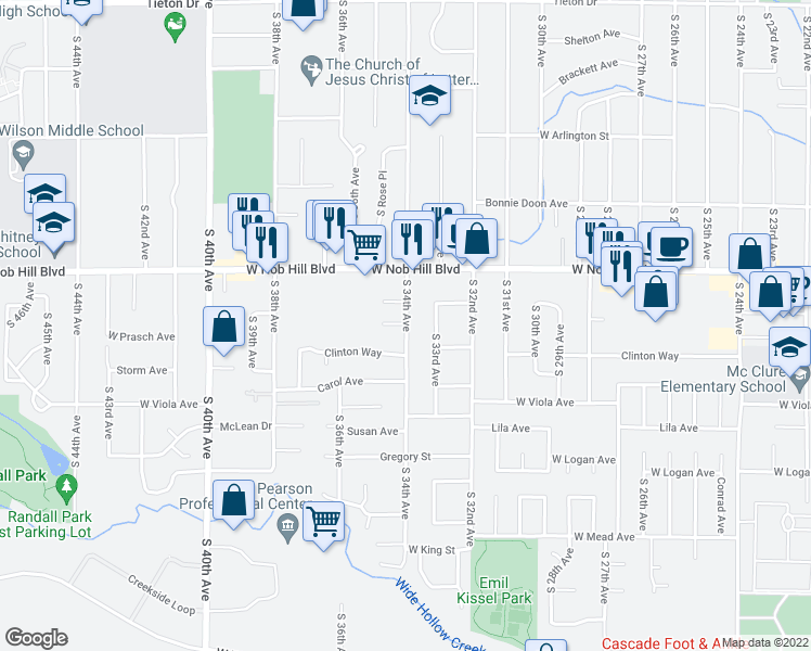 map of restaurants, bars, coffee shops, grocery stores, and more near 1112 S 33rd Ave in Yakima