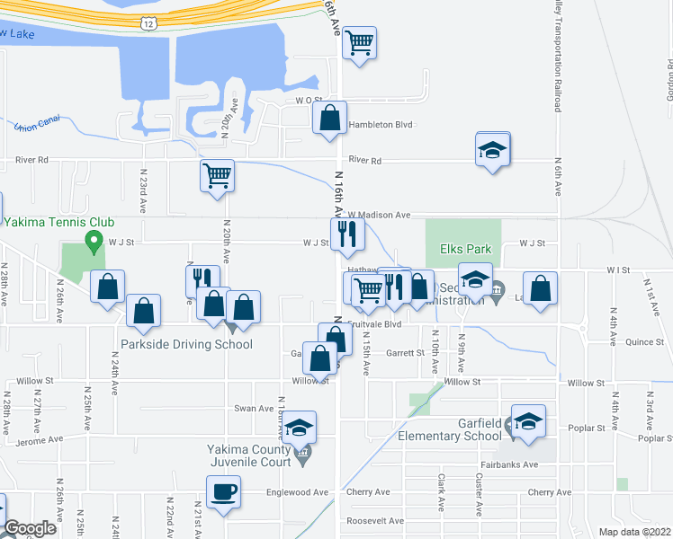 map of restaurants, bars, coffee shops, grocery stores, and more near N 16th Ave & Hathaway Rd in Yakima