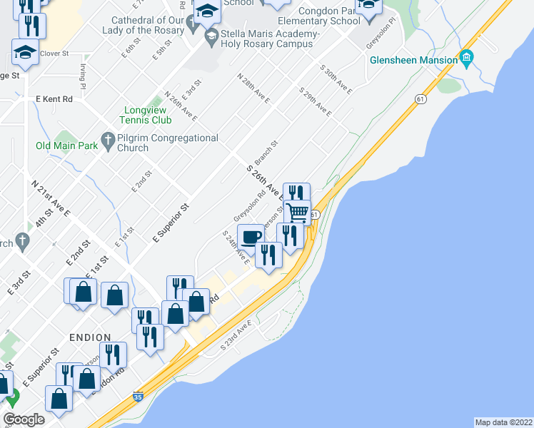 map of restaurants, bars, coffee shops, grocery stores, and more near 2517 Jefferson Street in Duluth