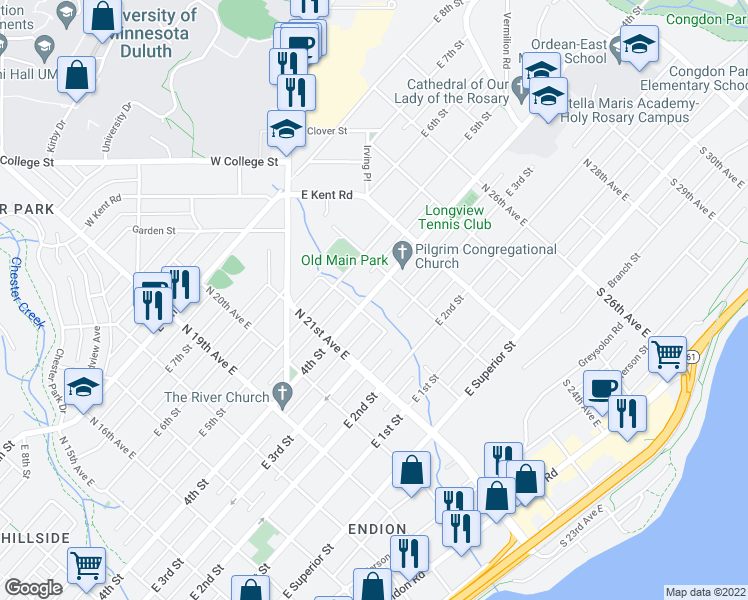 map of restaurants, bars, coffee shops, grocery stores, and more near 2230 East 4th Street in Duluth