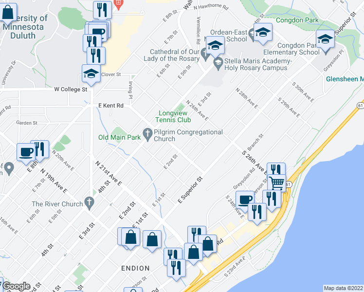 map of restaurants, bars, coffee shops, grocery stores, and more near 2419 East 2nd Street in Duluth