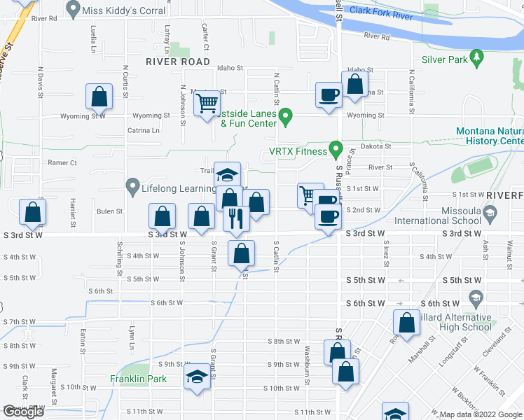 map of restaurants, bars, coffee shops, grocery stores, and more near 1740 S 3rd St W in Missoula