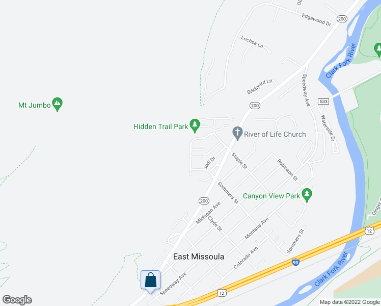 map of restaurants, bars, coffee shops, grocery stores, and more near Discovery Way, in East Missoula