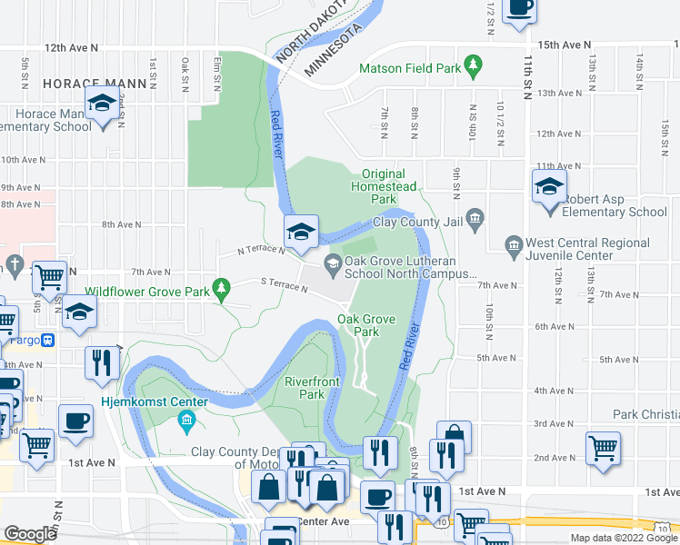 map of restaurants, bars, coffee shops, grocery stores, and more near 108 South Terrace N in Fargo