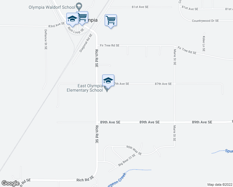 map of restaurants, bars, coffee shops, grocery stores, and more near 4315 87th Avenue Southeast in Olympia