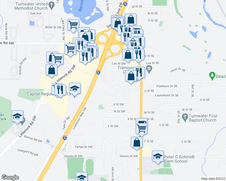map of restaurants, bars, coffee shops, grocery stores, and more near 301 T Street Southwest in Tumwater