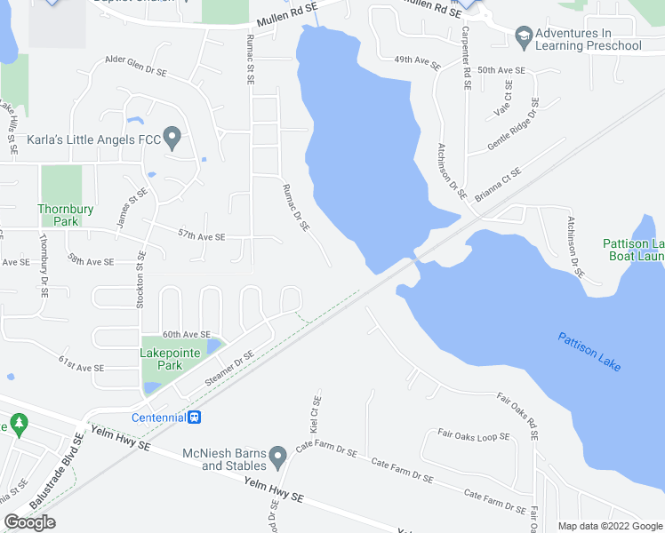 map of restaurants, bars, coffee shops, grocery stores, and more near 5726 Pattison Lake Drive Southeast in Olympia
