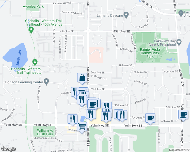 map of restaurants, bars, coffee shops, grocery stores, and more near 4900 50th Ave SE in Lacey