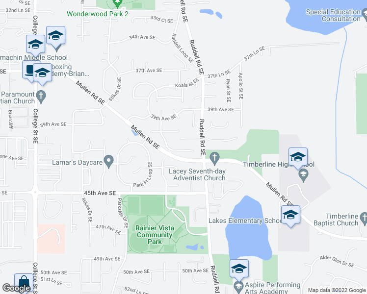 map of restaurants, bars, coffee shops, grocery stores, and more near 5613 40th Ct SE in Lacey