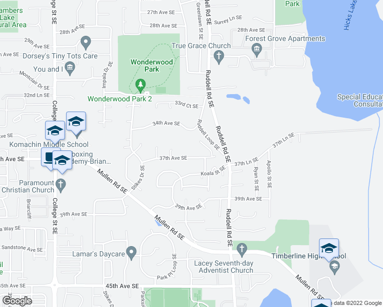 map of restaurants, bars, coffee shops, grocery stores, and more near 5532 37th Ave SE in Lacey
