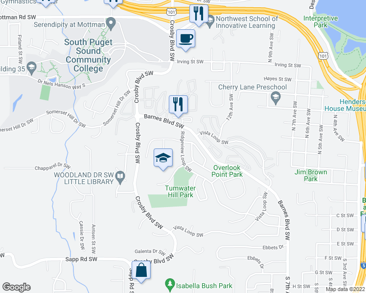 map of restaurants, bars, coffee shops, grocery stores, and more near 1978 Ridgeview Ct SW in Tumwater