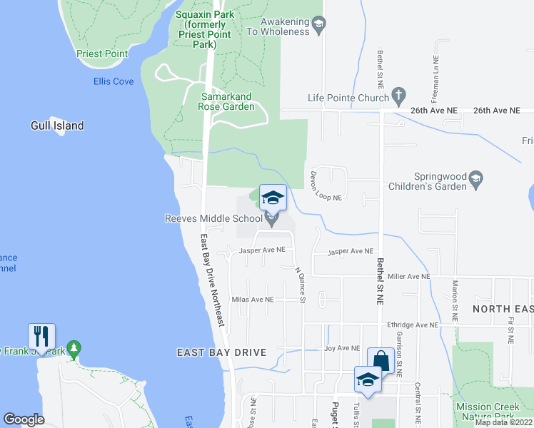 map of restaurants, bars, coffee shops, grocery stores, and more near Access Rd in Olympia