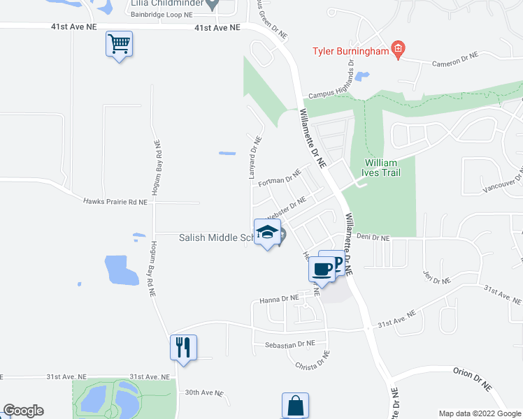 map of restaurants, bars, coffee shops, grocery stores, and more near 8530 Webster Drive Northeast in Lacey