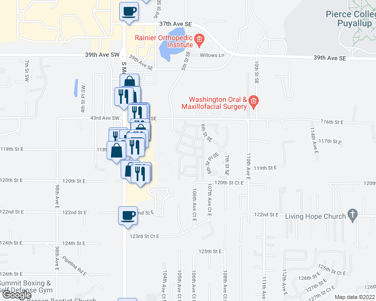 map of restaurants, bars, coffee shops, grocery stores, and more near 502 43rd Ave SE in Puyallup