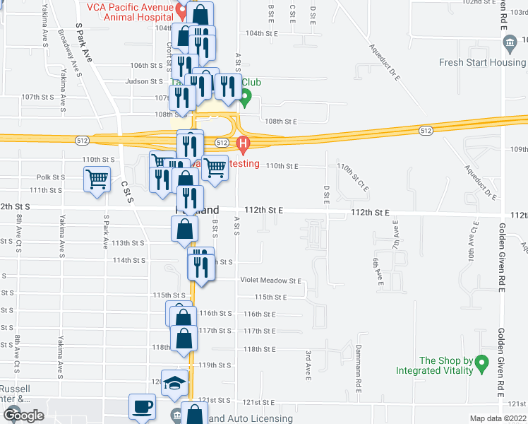 map of restaurants, bars, coffee shops, grocery stores, and more near 101-161 112th St E in Parkland