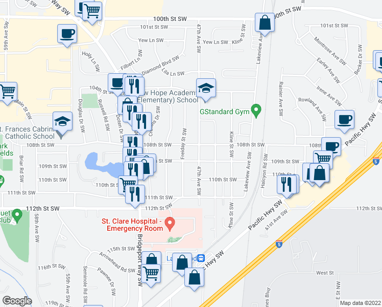 map of restaurants, bars, coffee shops, grocery stores, and more near 4700-4798 109th St SW in Lakewood