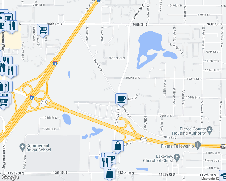 map of restaurants, bars, coffee shops, grocery stores, and more near 10203 Sales Road South in Lakewood