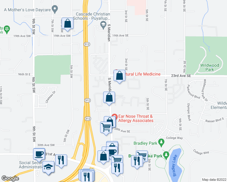 map of restaurants, bars, coffee shops, grocery stores, and more near 2408-2444 South Meridian in Puyallup