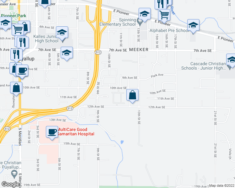 map of restaurants, bars, coffee shops, grocery stores, and more near 1022 10th Avenue Southeast in Puyallup
