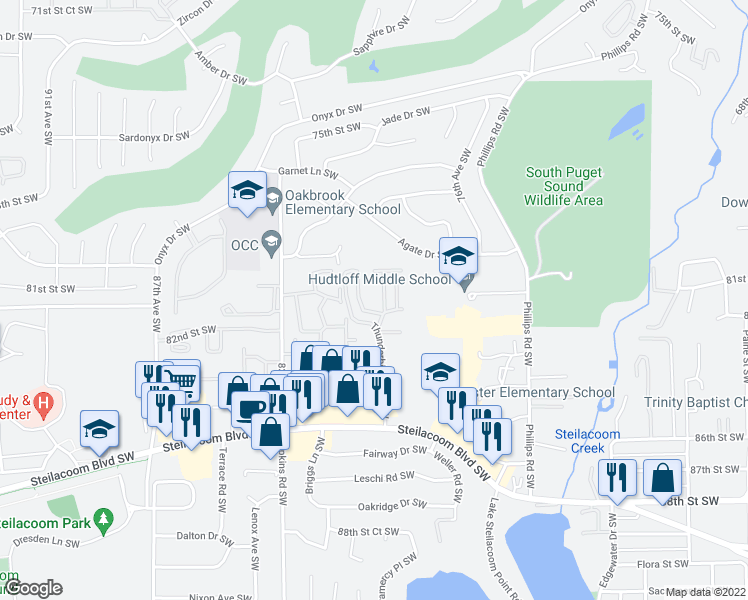 map of restaurants, bars, coffee shops, grocery stores, and more near 40 Thunderbird Pkwy SW in Lakewood