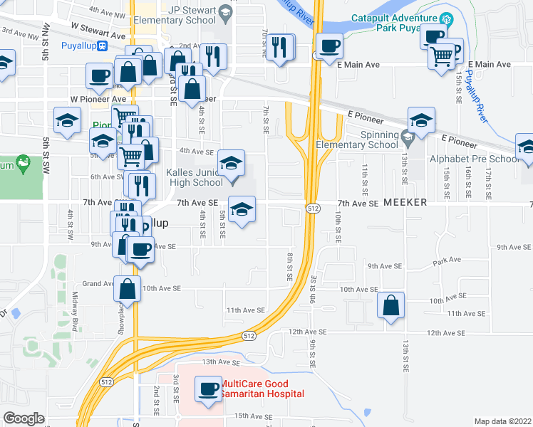 map of restaurants, bars, coffee shops, grocery stores, and more near 720 7th